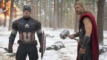 Chris Evans as Captain America and Chris Hemsworth as Thor in Avengers: Age of Ultron.