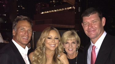 David Panton, Mariah Carey, Julie Bishop and James Packer at Crown Casino in Melbourne.