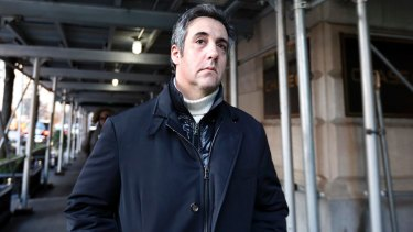 Senate subpoena: Michael Cohen leaves his apartment building in New York last month.