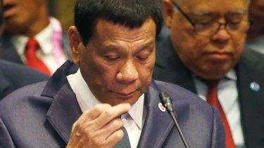 Rodrigo Duterte at the ASEAN Plus China summit in November 2018.