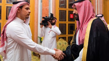 Salah Khashoggi shakes hands with Crown Prince Mohammed bin Salman in Riyadh in October 2018.