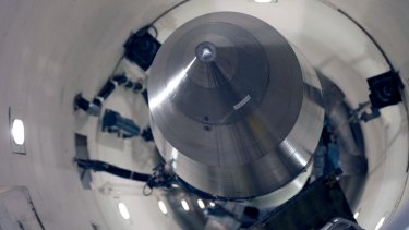 An inert Minuteman 3 missile is seen in a training launch tube at Minot Air Force Base, North Dakota.