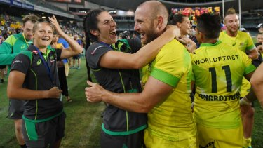 Stannard is congratulated by women's sevens star Charlotte Caslick after the men won the Sydney Sevens on January 28.