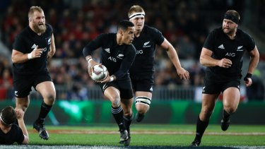 The All Blacks in action.
