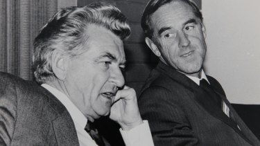 John Cain with Bob Hawke at the Labor state conference in Warrnambool in April 1983.
