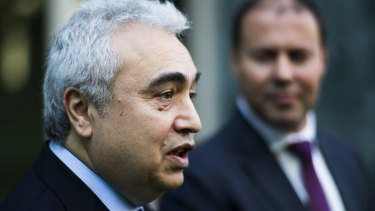 Executive Director of the International Energy Agency Dr Fatih Birol at a press conference in Canberra with Josh Frydenberg in 2016 when the current treasurer was serving as energy minister.