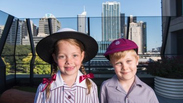 Prep students Amali Melville and Tate Verhagen on the roof of Melbourne's first vertical school Haileybury, which opened this year.