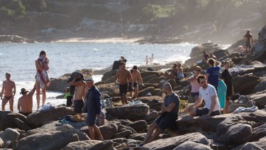 Crowds at the beach in Sydney's eastern suburbs at the weekend.