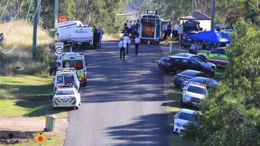 The police forward command post during the 20-hour siege involving gunman Ricky Maddison.