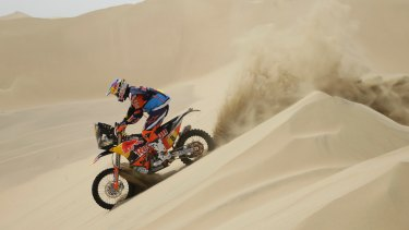 Toby Price takes to the dunes in the 2018 Dakar Rally