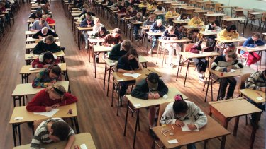 Students sit the selective schools test.