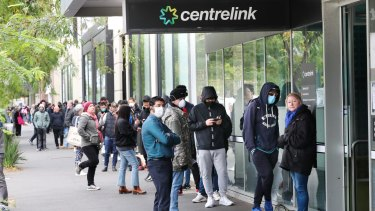 People lining up outside Centrelink.
