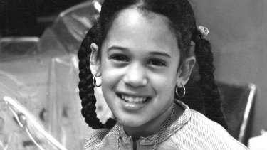 Kamala Harris as a child at her mother's lab in Berkeley, California.