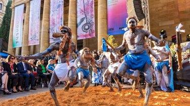 Yolngu artists perform at the Tarnanthi 2019 launch.
