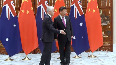Malcolm Turnbull with Chinese President Xi Jinping.