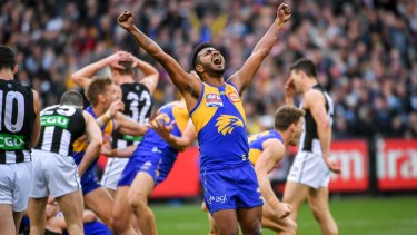 Willie Rioli celebrates on the final siren.
