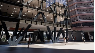 Artists impression of the new steel and timber tower at Westralia Square.