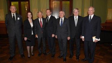 Former prime ministers Malcolm Fraser, Julia Gillard, Bob Hawke, Tony Abbott, John Howard, Kevin Rudd and Paul Keating at the memorial service for Gough Whitlam.