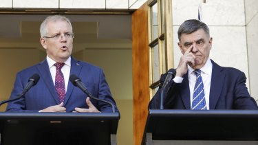 Prime Minister Scott Morrison and Chief Medical Officer Professor Brendan Murphy during a press conference on Wednesday.