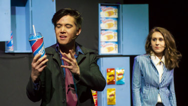 Will Huang ( J.D.), left,  and CAT Award winner Belle Nicol (Veronica Sawyer) in <i>Heathers the Musical</i>.