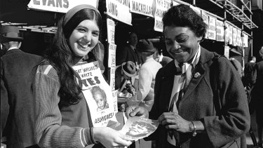 Aboriginal activist Faith Bandler at Town Hall during the 1967 referendum.