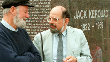 Lawrence Ferlinghetti, left, and Allen Ginsberg at the dedication of the Jack Kerouac Commemorative, in Massachusetts in 1988.
