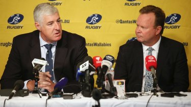 Former ARU chairman Cameron Clyne and chief executive Bill Pulver announcing in April 2017 that Australia would cut a Super Rugby team.