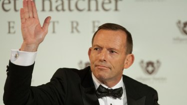 Tony Abbott gives The Margaret Thatcher Lecture in London in 2015.