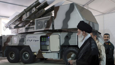 An official website of the office of the Iranian supreme leader, Third of Khordad air defense system is displayed while Supreme Leader Ayatollah Ali Khamenei visits an exhibition of achievements of Revolutionary Guard's aerospace division, in Iran.