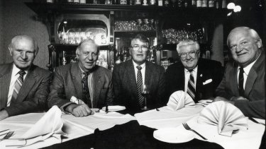 Kelly (on right) was a mainstay on Controversy Corner along with (from left) Col Pearce, Alan Clarkson, Rex Mossop and Ferris Ashton.