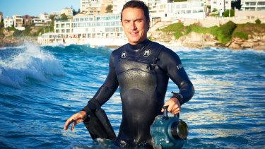Aquabumps founder Eugene Tan during a morning shoot at Bondi Beach.