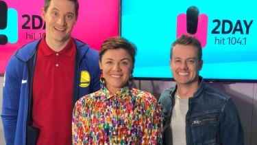 Em Rusciano, with 2DayFM co-hosts Ed Kavalee and Grant Denyer.