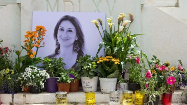 A memorial to murdered journalist Daphne Caruana Galizia, who was killed by a car bomb in Malta in 2017.