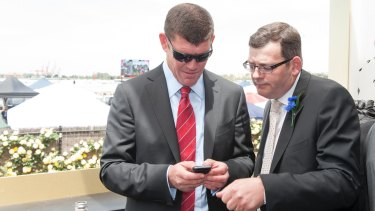 James Packer and Daniel Andrews in the Crown marquee on Derby Day in 2012.