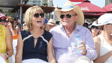 Gerry Harvey, with wife Katie, at the Magic Millions sales last year.
