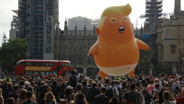 A six-metre high cartoon baby blimp of US President Donald Trump is flown as a protest against his 2018 visit to Britain.