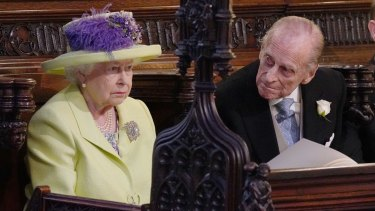 Queen Elizabeth II and Prince Phillip - possibly during Bishop Michael Curry's lively sermon.