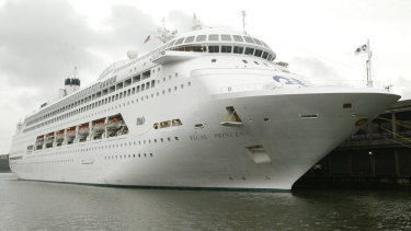 The Regal Princess is sailing off the coast of Florida but not docking.