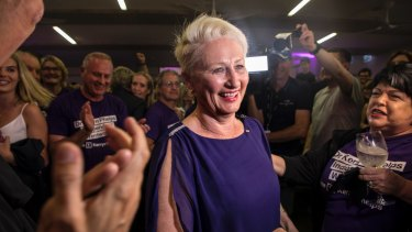 Kerryn Phelps celebrates her Wentworth byelection victory.