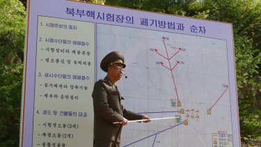The Deputy Director of North Korea's Nuclear Weapons Institute, who would not give his name, briefs reporters about the dismantling of North Korea's nuclear test site, in Punggye-ri on Thursday.