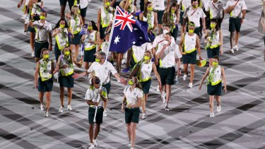 Team Australia at the opening ceremony.