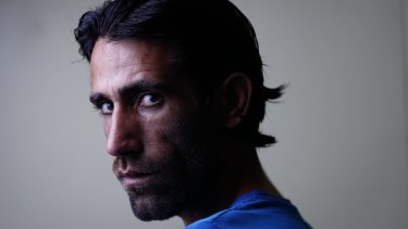 Refugee Behrouz Boochani from Iran, on Manus Island.