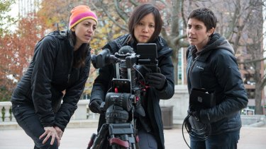 Making a Murderer creators Laura Ricciardi (left) and Moira Demos (right) with cinematographer Iris Ng.