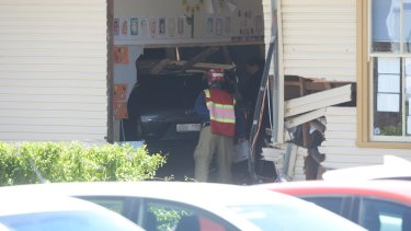 A vehicle smashed into a classroom in Banksia Road public school.