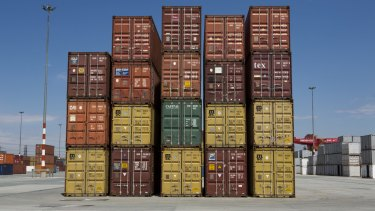 Shipping containers sit stacked at  Transnet port in Johannesburg.