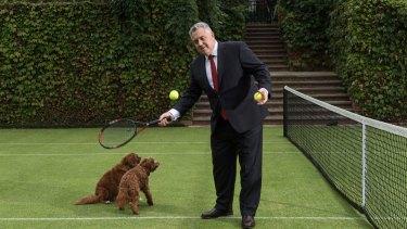 Australia's ambassador to Washington, Joe Hockey, on the tennis court at his residence in Washington.