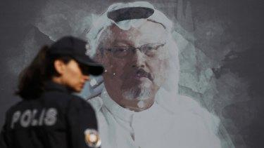 A mural of slain Saudi journalist Jamal Khashoggi in Istanbul.
