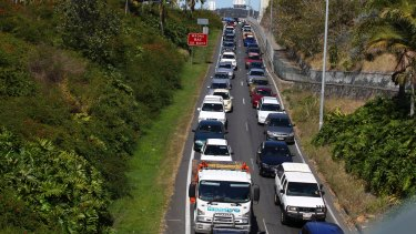 The freeway exit to Stanley Street, which is one of the city's worst peak our traffic bottlenecks.