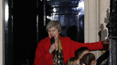 Britain's Prime Minister Theresa May attends the ceremony to light up a Christmas tree at 10 Downing Street in London, on Thursday.