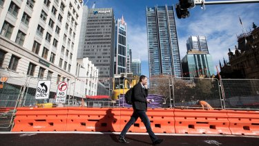 Barricades on George Street between Circular Quay and Liverpool Street are now due to be removed by November.